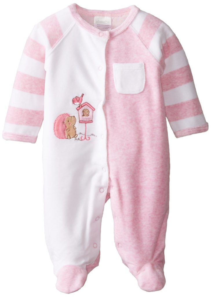 """Absorba Baby Girls' """"Birdhouse Cuties"""" Footed Coverall"""