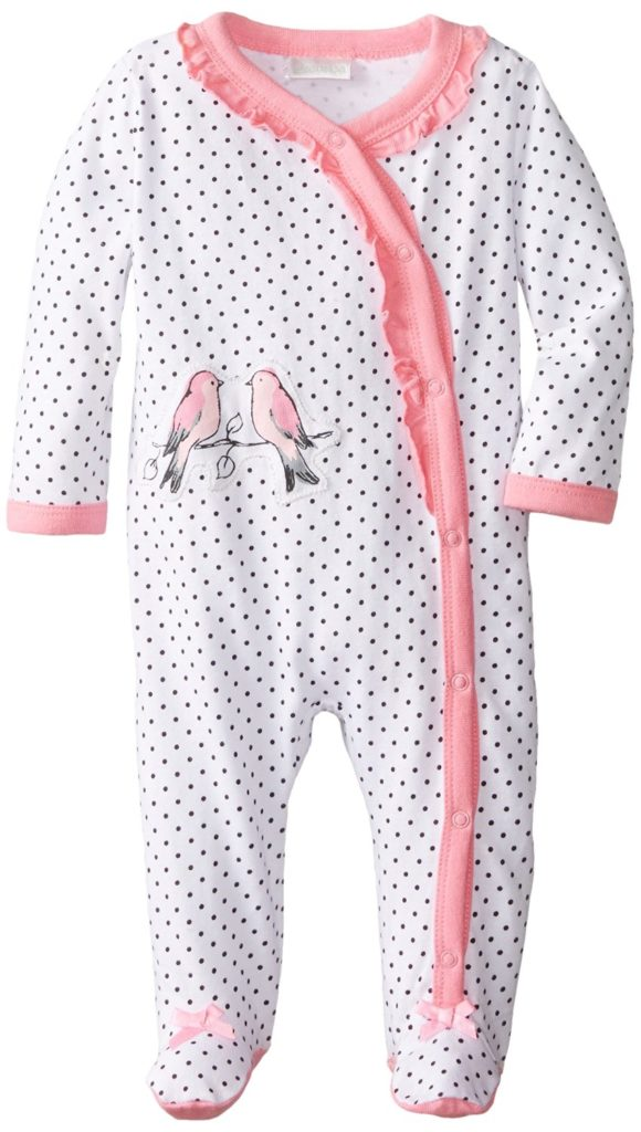 """Absorba Baby Girls' """"Sparrow Couple"""" Footed Coverall"""