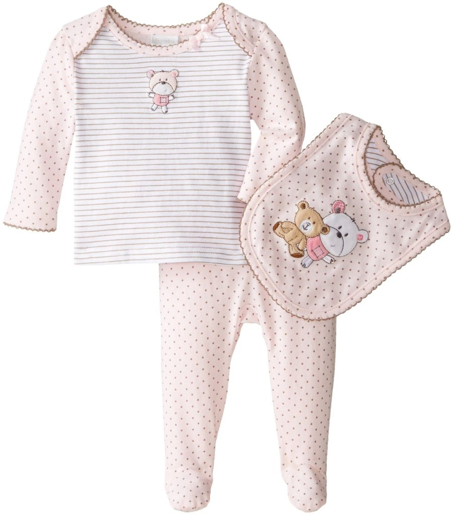 """Absorba Baby Girls' """"Double Bear"""" 3 Piece Outfit – pink 0"""